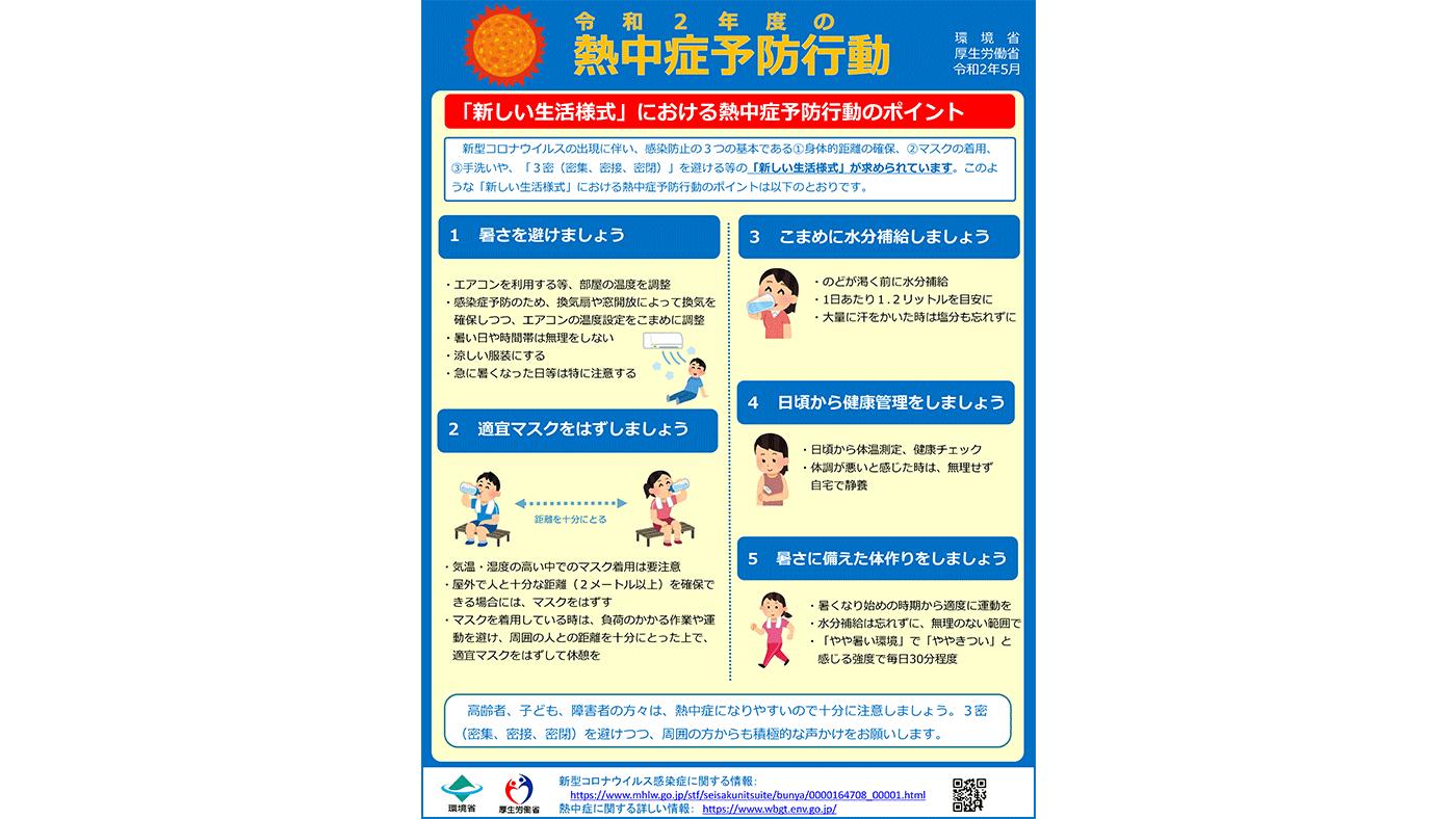 厚労省が新型コロナ禍の「新しい生活様式」における熱中症予防のポイントを公開